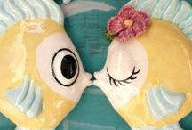 Fish n Chicks / vintage chalk ware wall fish lady head vases and such