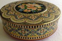 Tin jewelry collection - Daher Faux Bead mosaic tin / Jewelry necklaces earrings bracelets accessories I've made from this vintage biscuit tin