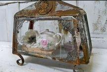 Cloche, Bell Jar, Clock Dome / Beautiful settings under glass / by Sue Jensen Brown