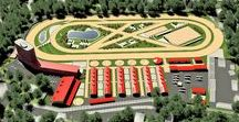 Equestrian Sport complexes / Urban design project for equestrian sport complex from 20 till 150 horses from 5 ha till 30 ha with developing multifunctional territory. Architectural, construction, engineering sections for equestrian sport complex for dressage and show jumping houses.