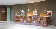 Banque d'accueil James   Ouvrage by James / Banque d'accueil James   Ouvrage by James Réalisation pour le siège social de La Maison James à Saint-Laurent-De-Cuves en Normandie @lamaisonjames  #design #cabinetmaker #headoffice #lamaisonjames #wood #desk #office #deco