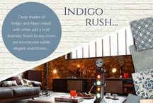 Indigo Rush / Deep shades of Indigo and Navy mixed with white add a bold dramatic touch to any room yet incorporate subtle elegant undertones...