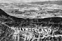 "A Vintage Look At Hollywoodland / The HOLLYWOODLAND sign was erected in 1923 to advertise a new housing development in the hills above the Hollywood district of Los Angeles. In 1949 the Hollywood Chamber of Commerce contracted to repair and rebuild the sign. The contract stipulated that ""LAND"" be removed to reflect the district, not the housing development. Now a look at the area of Hollywood and Los Angeles.  / by Joanne Honer"