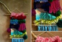 ✤ Mobiles hanging stuff weaving ✤ / all things wall and ceiling hanging , mobile, dreamcatchers , weaving, woven wall hanging , tissage, suspension,  / by Mademoiselle Samantha