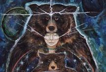 "Bear Spirit / Joseph Campbell says Bear Cults, Shamanism and the Atlatl are 3 of the oldest traditions in North America, having come from Polar Latitudes. Observed in North America, Ursa Major and Minor, the ""Bear stars"" mimic bear's hibernation period,  appearing in the spring, fading in winter. / by Lisa Roman"