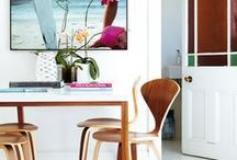 D I N I N G - R O O M S / colorful, bright, fun, kitchens and open plan eat in spaces. banquettes, mix up of chairs, mid century,  / by Jill Brandenburg