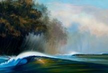 Dreamscapes - Tropical Paintings / The Tropics, where we long to go laze on a beach and watch waves roll in (and maybe surf a bit), inspired these paintings by Wade Koniakowsky.
