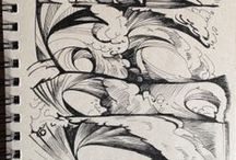 Drawings of Waves and Beautiful Tropical Scenery / Scenes from Wade's ocean art notebooks!
