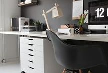 Home Office Furniture / Furnishing workspace at home, it needs to blend in with your home style - wood always calms down spaces and adds strength and texture.