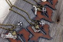 My Jewelry | I Love My State / I created this line of jewelry for people who love the state they live in or want to remember the state they're from.  They make great gifts for someone who has moved away, too.  I can customize the charms or add a hand-stamped tag for an additional fee.  Hope you enjoy them! / by Ann @ Duct Tape and Denim