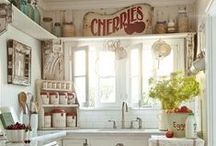 Farmhouse Kitchen Ideas / This is where I collect ideas for my modern urban farmhouse kitchen... I know, I'm very eclectic!  But it works for me.  :-) I love galvanized tin, wood, signs, and vintage to mix with my green tile, white cabinets, wood floors, and black marble countertop.
