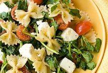 eats: salads / Fruit salad, Pasta salad and Green salads. I Love them all!
