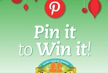 "Pin It to Win It Holiday Party / Join us for the first Crockin' Girls Holiday Party Pin it to Win it contest. Create your own holiday party board with food, decor and more! 1) Follow us on Pinterest 2) Create a Board called ""Crockin' Girls Holiday Party"" 3) Repin this image 4) Share your board link in the blog comments section. 