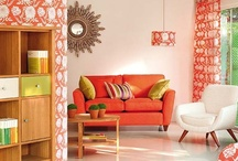 orange.squash / Add some orange textiles to brighten your interior!  Super lovely orange fabrics, wall papers, paints and accessories.  / by Funky Fabrix