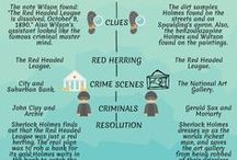 """Student Infographics / 6th grade students create their first infographic comparing Arthur Conan Doyle's """"The Red Headed League"""" (19th century) to the cartoon episode """"Sherlock Holmes in the 22nd Century: The Red Headed League"""""""