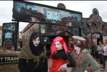Our Work: Carnesky's Ghost Train Blackpool / We spotted some of our work in the music video for 'Monster' by 'Professor Green'. We designed, printed & installed the mural for the Carnesky's Ghost Train, which is now permanently located in Blackpool opposite the Sandcastle Water Park.