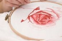Embroidery by Hand and Machine / Embroidery by hand or by machine.
