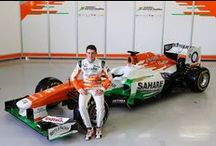 Our Work: Force India / A graphic panel installation for the Force India F1 team.