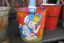Vintage Tin  Beach Pails / Kitschy retro beach pail collectibles and accessories. Be sure to visit my bog http://cdiannezweig.blogspot.com/ and also join my site http://iantiqueonline.ning.com/
