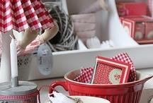 Vintage Red & White kitchen  / by Sharon Birkelbach