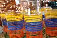Retro Beverage Glasses  / Funkly, fun, colorful vintage beverage and juice glasses. Visit my blog http://cdiannezweig.blogspot.com/ and my site http://iantiqueonline.ning.com/