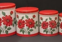 Retro Kitchen Canisters / Colorful, vintage kitchen canisters. Visit my blog http://cdiannezweig.blogspot.com/ and my site http://iantiqueonline.ning.com/
