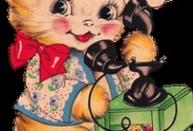 Kitschy Retro Kitty /  Sweet retro cats. Visit my blog http://cdiannezweig.blogspot.com/ and my site http://iantiqueonline.ning.com/