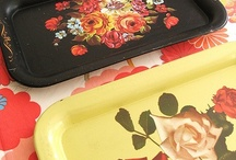 Retro Metal Trays  / Colorful vintage metal trays. Please visit my blog http://cdiannezweig.blogspot.com/ and my site http://iantiqueonline.ning.com/