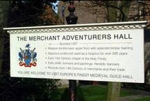 ♔ Merchant Adventurers Hall, York / The Merchant Adventurers' Hall is of major national importance.  It was built between 1357 and 1361, before most of the craft or trade guild halls in Britain, making it one of the largest buildings of its kind and date in Britain. It is very unusual to be able to see in one building the three rooms serving the three functions of a medieval guild; business and social in the Great Hall, charitable in the Undercroft and religious in the Chapel. / by Melissa