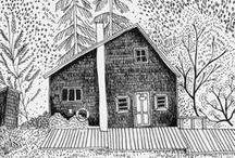 House drawings and patterns / House illustrations, drawings and patterns