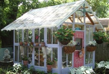 "GARDEN SHEDS AND HIDEAWAYS / There are many things in life that give us pleasure, but a garden shed or greenhouse ""get away"" is a true luxury for a gardener.  It is like a studio to an artist, a wheel to a potter, or paper and pen to a writer. / by Carolyn Fisk"