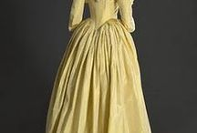 Women's Clothes c1780 to c1800 / The gowns can have a high or a natural waist.