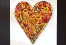 Dichroic Glass Hearts / couple who create together stay together