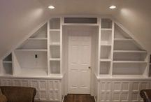 Let's Decorate: Playroom / Ideas for the bonus room - craft/play/storage room!  This room is over the garage with sloped roof on both sides.