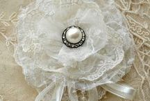 Hand made  Flowers / fabric flowers, paper flowers made from ribbon, material, lace, burlap