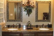 Bathroom Remodels / Rebuilt shower, with heavy frameless shower enclosure and recessed caddie.