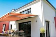 Awning Visualizer / Design your Advaning awning with different fabrics and your selection of exterior wall texture.