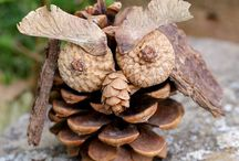 Nature Crafts / Easy crafts for kids made with sticks, pine cones, nuts, bark, rocks, leaves, and seeds!