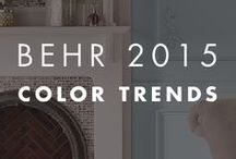 BEHR 2015 Color Trends / Using color can be a bit of a balancing act. We demonstrate how to combine different hues, values, textures and intensities to create rooms in perfect design harmony. Come explore what is on the 2015 color and design horizon through the intermingling of our four trend themes. #2015ColorTrends #BehrPaint