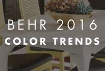 BEHR 2016 Color Trends / The BEHR 2016 Color Trends feature bold and beautiful paint shades that are perfect for any home decor.  Chromatic brights mingle with dark moody tones which makes for high contrast. Luxe dimension brings strong color, gold detailing, and geometric patters. Look for modern organic furniture shapes, subtle color combinations and natural materials that envelope you in quiet serenity.