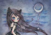 Inspirational / Maan, sterren, droevig kijkende meisjes