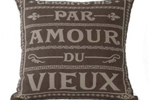 French Script Decor / Furnishings with French words and symbols.