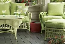 Pretty porches, patios, verandas, decks / Those lovely areas attached to our homes which become part of our living space.
