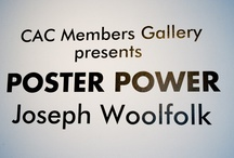 Poster Power  - Members Gallery / Using the form of advertisements, Joseph Woolfolk seeks to bring to light the hypocrisies of modern life and consumerism. Poster Power brings together Woolfolk's most recent body of work incorporating bold text and images designed to infiltrate the viewer's subconscious. While working on a previous stencil project, Woolfolk discovered his technique for painting on glass; the pureness of the color and line that resulted from his method created a new playground for his ideas to flourish.