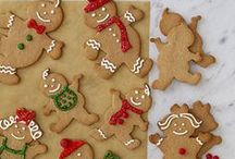 Christmas - Jax House of Gingerbread / Stir a bowl of gingerbread Smooth and spicy brown. Roll it with a rolling pin Up and up and down. With a cookie cutter, Make some little men. Put them in the oven Until half past ten. / by Jacqueline Griffin