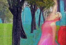 MY art in collaging / Hier kombiniere ich Fotografien mit Acryl-Malerei