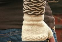 knitting  hats, mittens and scarfs