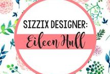 """EILEEN HULL FOR SIZZIX / Eileen Hull is a designer, author and licensed artist whose work has been featured in books, magazines, shops and online. Her design style may be described as clean and sophisticated with a light touch of glitter. Her books, Matboard Magic and Foamboard Magic, were both released in 2008.  Specializing in three-dimensional designs, Eileen's primary medium is mat board. Her latest endeavor has been developing an innovative line of dies for Sizzix. ScoreBoards dies are designed to cut and score mat board into boxes, folders and totes.  Eileen enjoys working with recycled materials and """"treasures"""" from thrift stores, or even better, those found on the curb! / by Sizzix"""