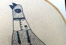 Quirkery Stitchery by Spincushions / Here you'll find embroidered hoop art created as a collaboration with 2 of my daughters.  They draw it, I stitch it.