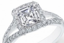 Asscher Cut Halo Engagement Rings / Assher Cut Diamond Engagement and Wedding Rings are among the most modern engagement ring designs. For more info you can contact Diamond Mansion at 800-518-0240 / by DIAMOND MANSION CO. Unique Engagement Rings
